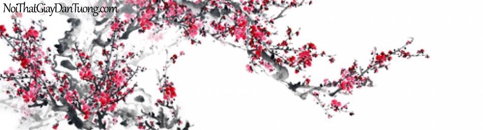 Tranh dán tường | Bức tranh chành hoa đào đang khoe sắc tuyệt đẹp DA2136