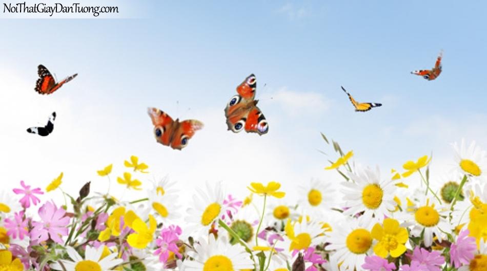 Tranh dán tường | Bức tranh những chú bướm đang bay trên những bông hoa DA2140