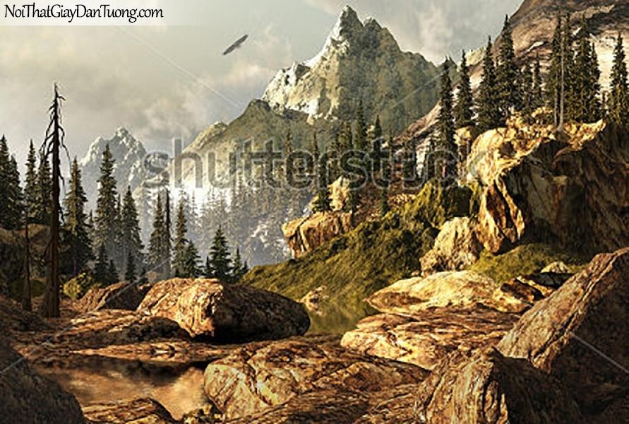 Tranh dán tường , ngắm cảnh chim bay qua đồi núi DA358