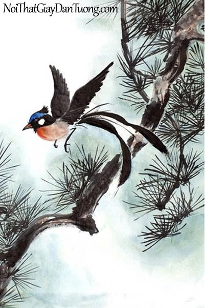 Tranh dán tường , ngắm cảnh chim đàng chuẩn bị đậu trên cánh cây DA344