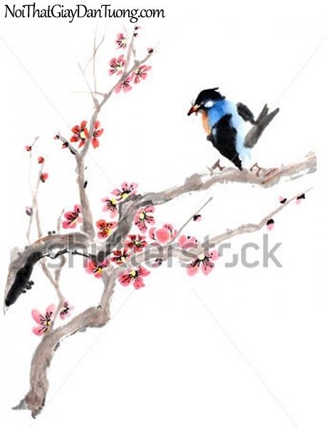 Tranh dán tường , ngắm cảnh chim đâụ trên cánh cây DA342