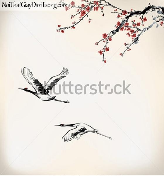 Tranh dán tường , ngắm cảnh đôi chim bay qua cánh đồng DA343