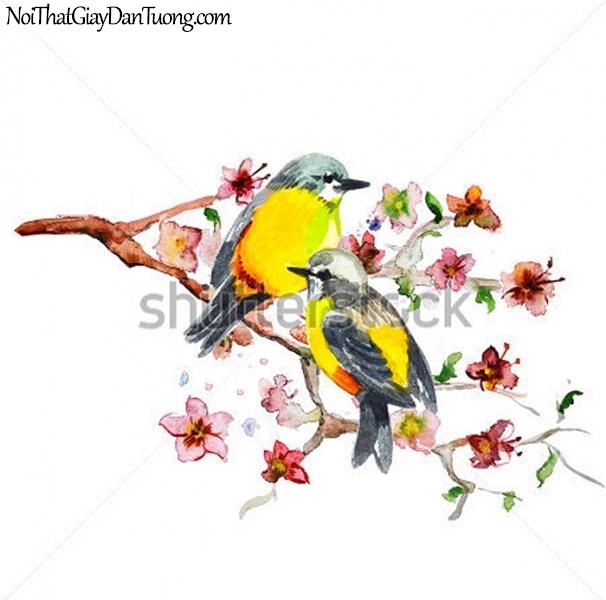 Tranh dán tường , ngắm đôi chim tuyệt đẹp DA354