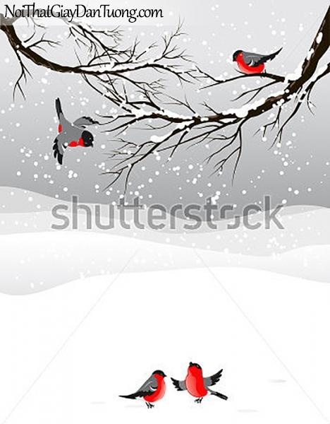 Tranh dán tường , mùa đông tuyết rời và những con chim én DA378