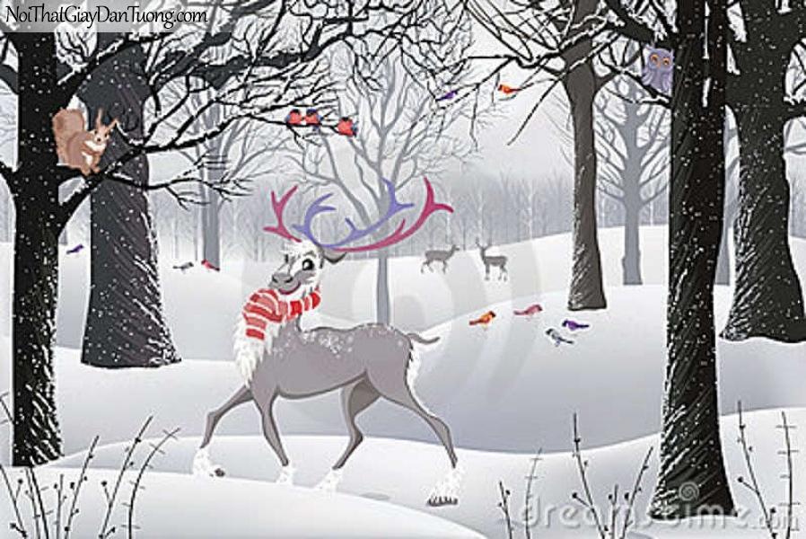 Tranh dán tường , mùa tuyết rời và những con thuân lộc DA372