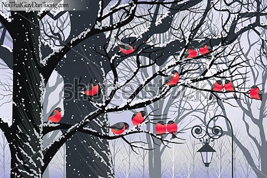 Tranh dán tường , ngắm cảnh mùa tuyết rời và những đàn èn DA374