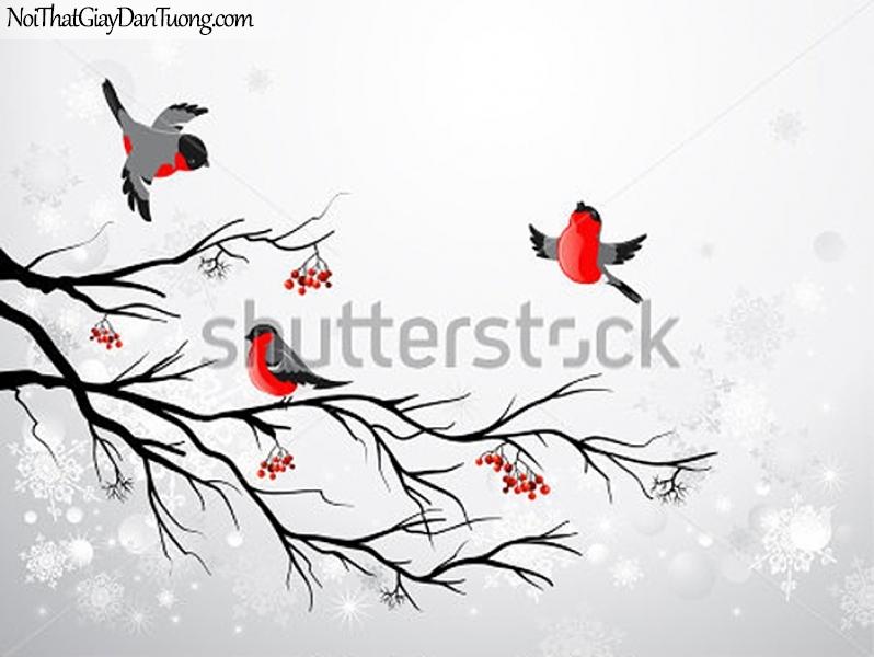 Tranh dán tường , ngắm đàn chim đậu và đàng đau giận trên cánh cây DA377