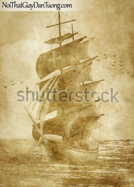 Tranh dán tường, thuyền buồm đẹp A002