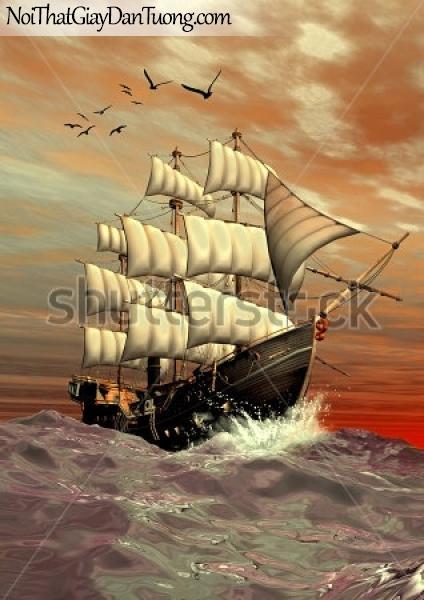 Tranh dán tường , thuyền buồm đẹp A005