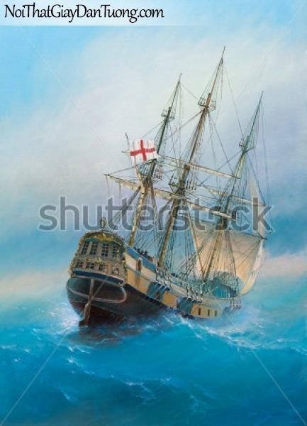 Tranh dán tường , thuyền buồm đẹp A008