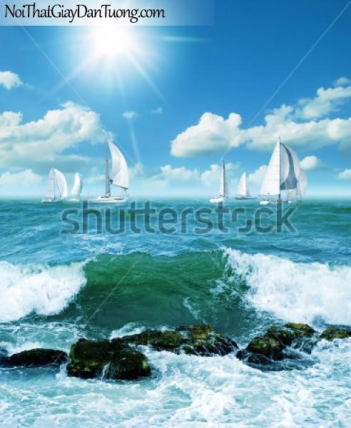Tranh dán tường ,thuyền buồm ngoài biển khởi A004