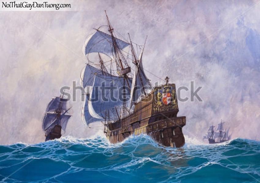 Tranh dán tường , thuyên và buồm đẹp A009