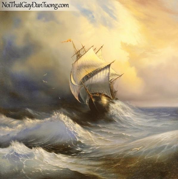 Tranh dán tường , con thuyền đàng chống chọi với bão lớn A025