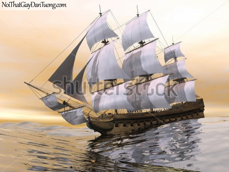 Tranh dán tường , thuyền buồm đẹp A012