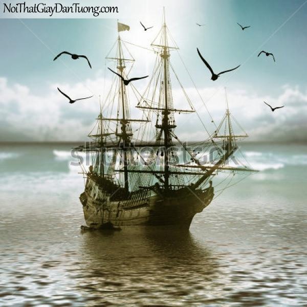 Tranh dán tường , thuyền buồm đẹp A019