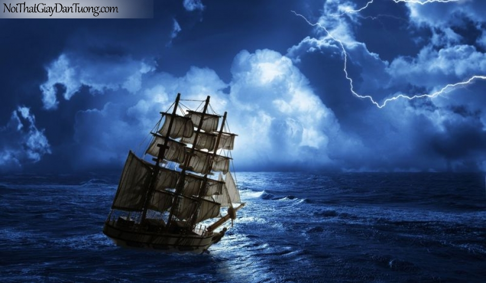 Tranh dán tường , thuyền buồm đẹp A026