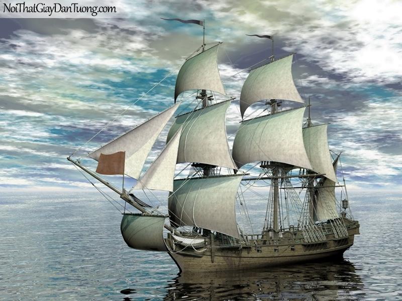 Tranh dán tường , thuyền buồm đẹp A029