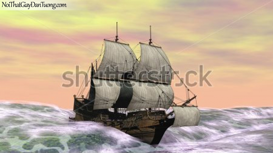 Tranh dán tường , thuyền buồm đẹp A031