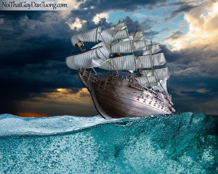 Tranh dán tường , thuyền buồm đẹp A033