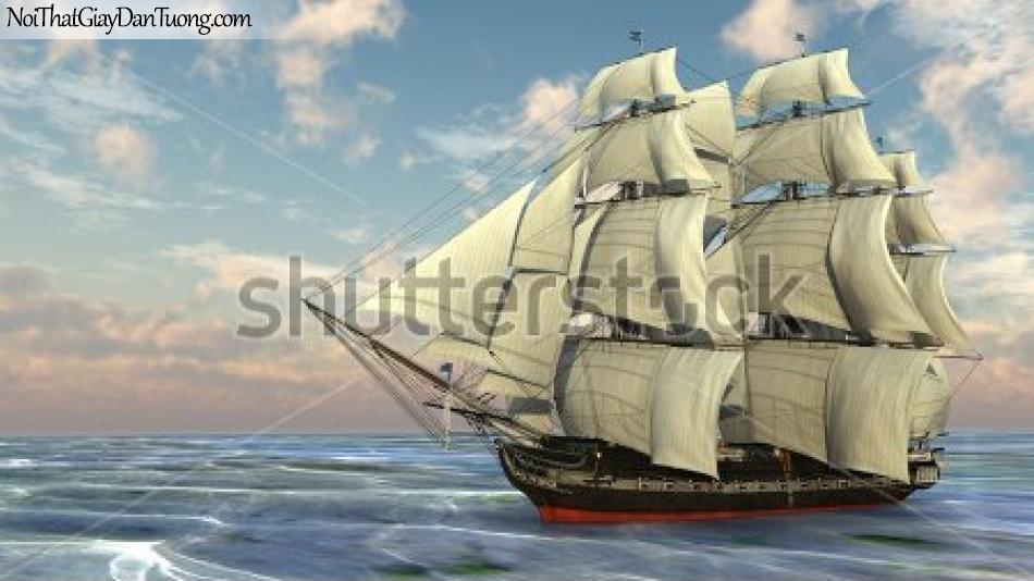 Tranh dán tường , thuyền buồm đẹp A034