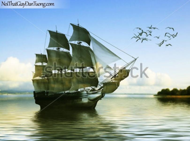 Tranh dán tường , thuyền buồm đẹp có đàn chim A023