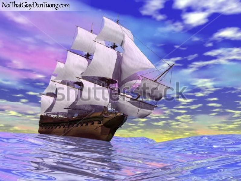 Tranh dán tường , thuyền buồm đẹp và bầu xanh A014