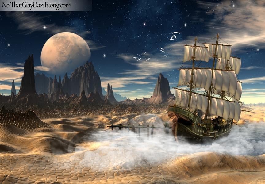 Tranh dán tường , thuyền buồm đẹp vào đêm khuya những vị sao lung linh A016