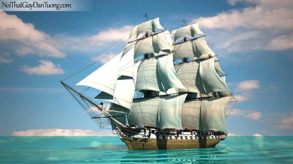 Tranh dán tường , thuyền buồm đẹp A039