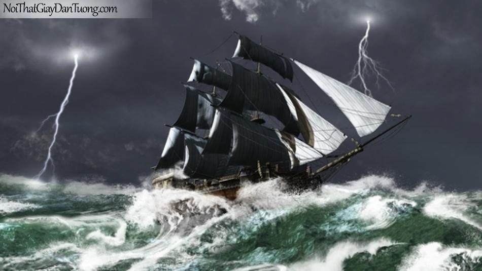 Tranh dán tường , thuyền buồm đẹp A040