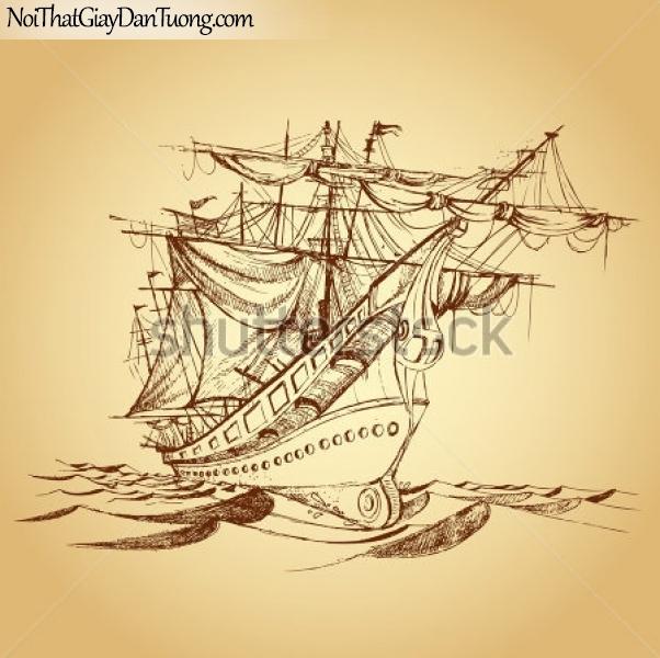 Tranh dán tường , thuyền buồm đẹp A043