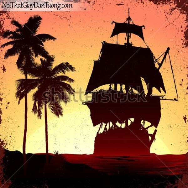 Tranh dán tường , thuyền buồm đẹp A044