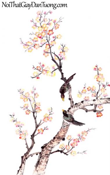 Tranh dán tường | Bức tranh 2 chú chim trên chành hoa đào sắc xuân DA2275