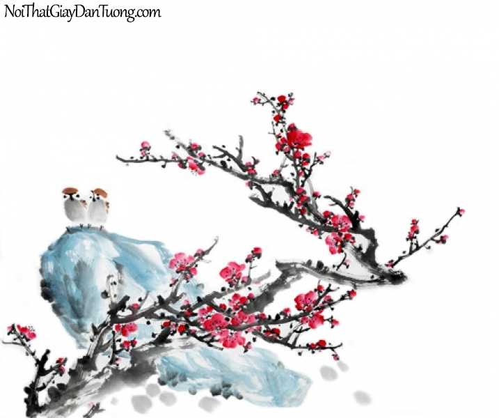 Tranh dán tường | Bức tranh 2 chú chim trên tảng đá bên cạnh chành hoa đào mùa xuân DA2274