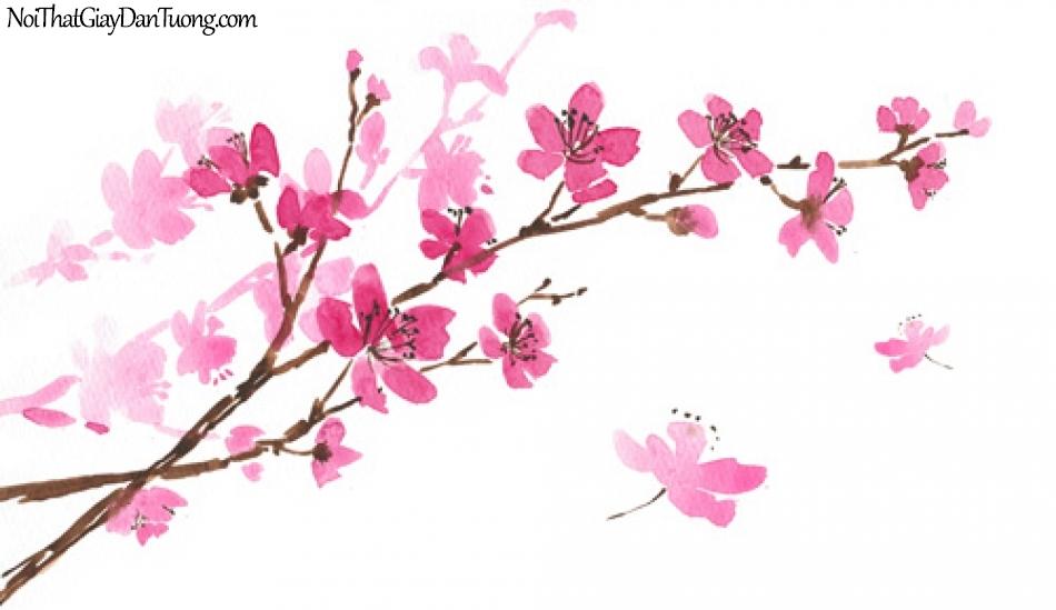 Tranh dán tường | Bức tranh những chành hoa đào trong ngày xuân DA2250
