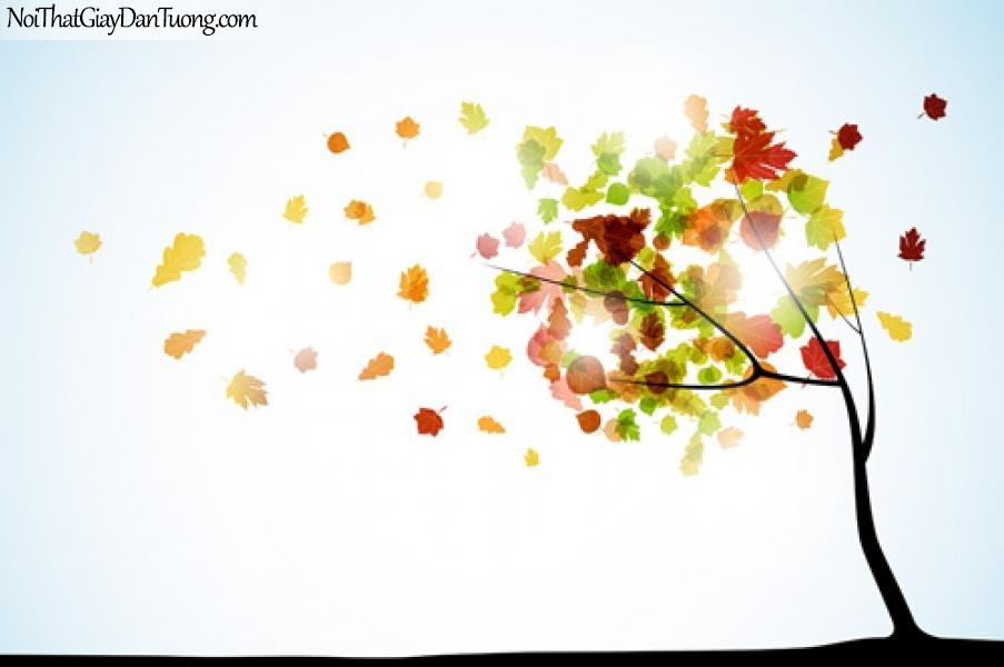 Tranh dán tường   Bức tranh những chiếc lá đang bay trong trời mùa thu DA2249