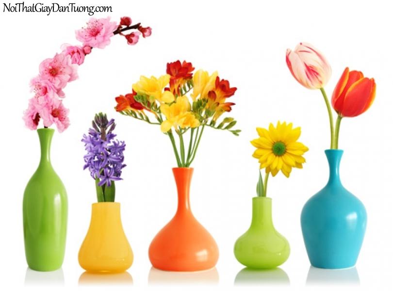 Tranh dán tường | những bông hoa tuyệt đẹp trong những bình hoa xinh xắn DA2259