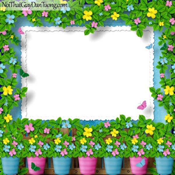Tranh dán tường | những bông hoa xinh xắn trong những chậu hoa tạo thành khung hình đẹp DA2260