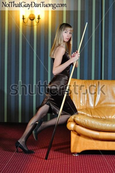 Tranh dán tường , nhìn người đẹp đàng cấm chiếc gậy chơi bida DA209