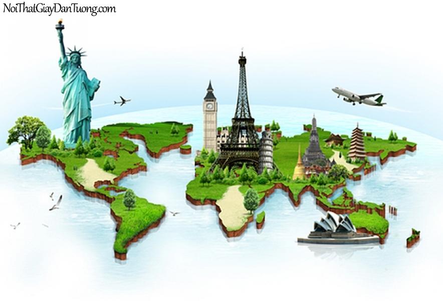 Tranh dán tường | Bản đồ thế giới DA702