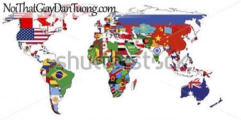 Tranh dán tường | Bản đồ thế giới DA708