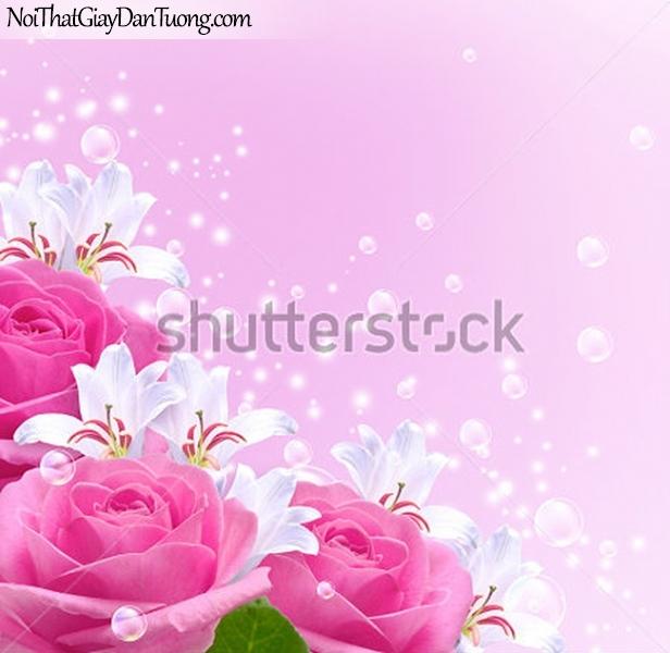 Tranh dán tường | Bức tranh những bông hoa hồng khoe sắc cùng với những bông hoa lan DA2290
