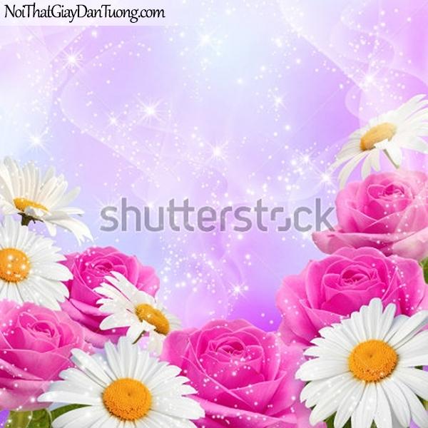 Tranh dán tường | Bức tranh những bông hoa hồng và những bông hoa lan tuyệt đẹp DA2285