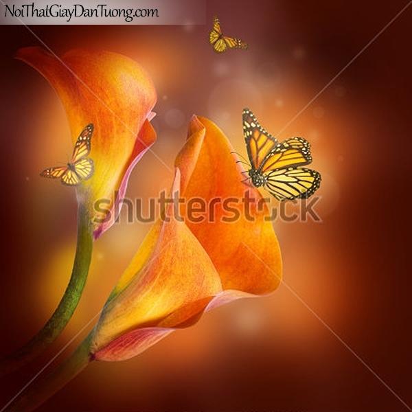 Tranh dán tường | Bức tranh tuyệt đẹp về những bông hoa lan và những chú bướm DA2314