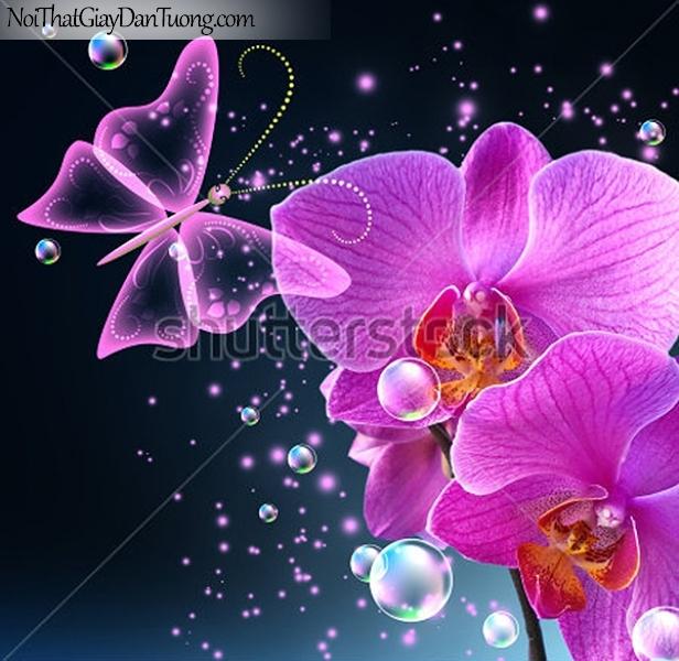 Tranh dán tường | Bức tranh bông hoa lan tuyệt đẹp cùng với chú bướm xinh DA2361