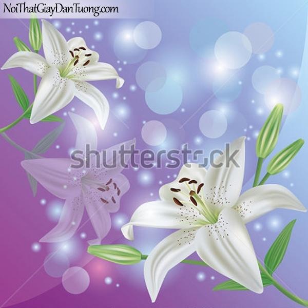 Tranh dán tường | Bức tranh những bông hoa loa kèn trắng tuyệt đẹp DA2367