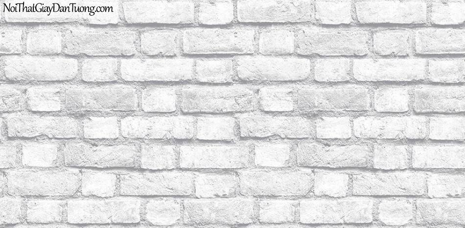 Giấy dán tường The Eight 2124-1 - giấy dán tường giả gạch, giả gạch màu trắng, giả gạch 3D, giấy gạch mới 2018, gạch thẻ, gạch trắng xám, màu xám
