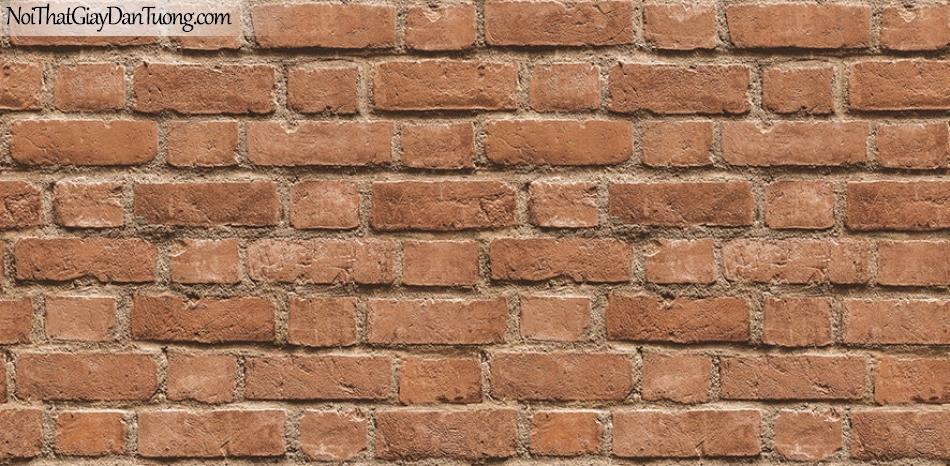 Giấy dán tường The Eight 2124-3 - giấy dán tường giả gạch, giả gạch 3D, gạch thẻ, màu hồng, màu cam, màu đỏ, màu đỏ đô, đỏ nhạt