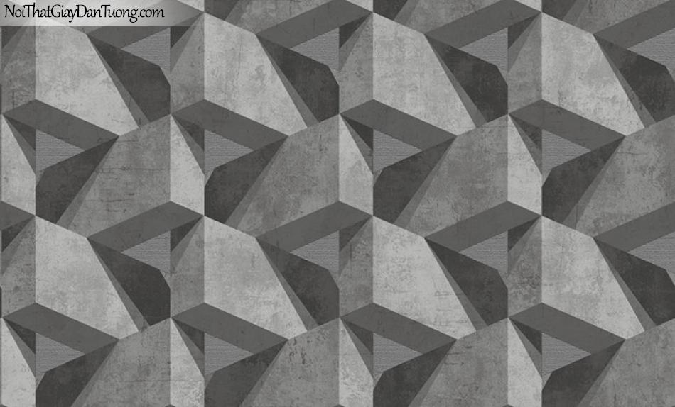 Giấy dán tường The Eight 2127-2 - Giấy dán tường giả bê tông 3D, bê tông 3D màu xám, màu xám tro, gạch xếp ziczac, giấy dán tường giả bê tông đẹp