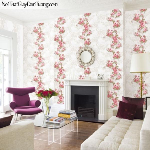Giấy dán tường The Eight 2130-1 + 2129-1 - phối cảnh giấy dán tường hoa màu hồng 3D đẹp