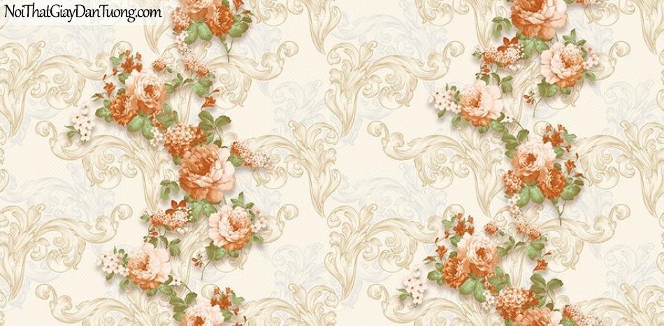 Giấy dán tường The Eight 2130-2 - giấy dán tường hoa văn màu vàng, hoa văn 3D màu vàng, bông hoa sọc xuống, hoa chìm, hoa nổi
